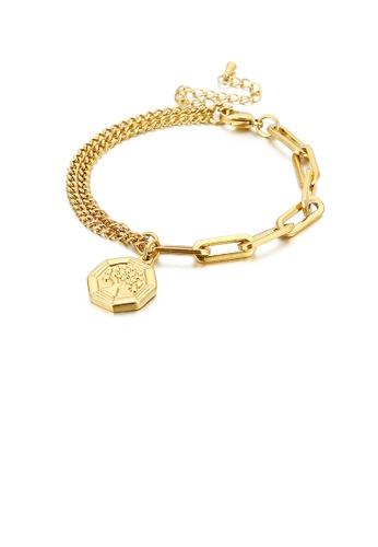Glamorousky silver Fashion Personality Plated Gold Tree Of Life Geometric Tag 316L Stainless Steel Bracelet 47D58AC42282AAGS_1