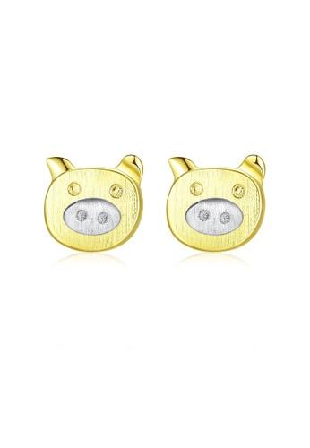 SUNRAIS gold High quality Silver S925 golden cartoon earrings CAD30AC99B7433GS_1