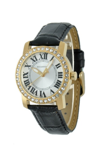 EGLANTINE gold EGLANTINE® Emily Ladies Gold Plated Steel Quartz Watch Paved with Crystals on Black Leather Strap 13874AC1A0EB40GS_1