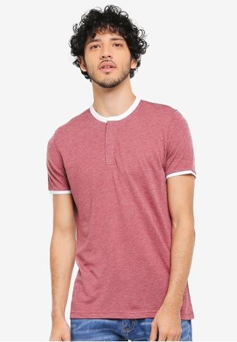 ZALORA red Contrast Stand Collar T-Shirt BA537AA3324586GS_1