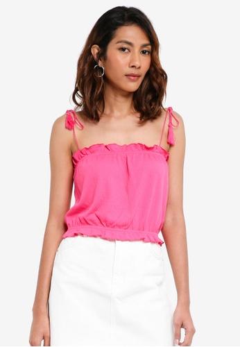 TOPSHOP pink Tassel Tie Camisole Top D6025AA9C3C243GS_1