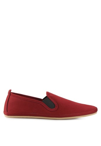 Minarno red Minarno Maroon Canvas Slip-On ND133 MI641SH26XAZID_1