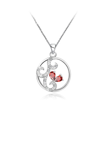 Glamorousky red Fashion Round Pattern Pendant with Red Cubic Zircon and Necklace 32F1EACB0E2AE9GS_1