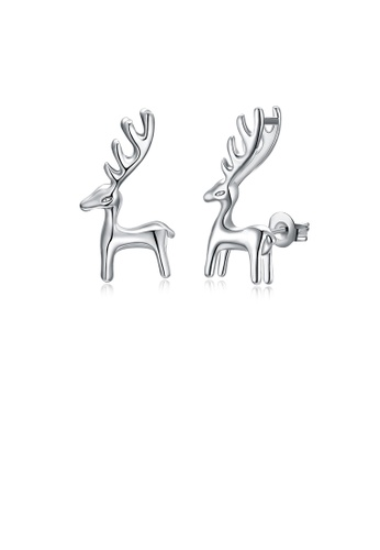 Glamorousky silver Simple and Cute Little Deer Stud Earrings EF5A3ACB335433GS_1