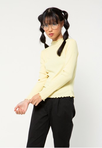 COLORBOX yellow Basic Long Sleeves 46084AAB8433F1GS_1
