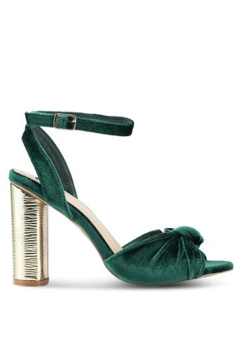 Carlton London 綠色 絲絨金屬扭結粗跟鞋 3C9AFSHEDA4A5AGS_1