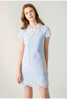 OUWEY歐薇 縷空雕花造型條紋短袖洋裝