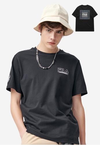FILA black FILA x White Mountaineering Logo Cotton T-shirt CE5A5AA1C5D7A0GS_1
