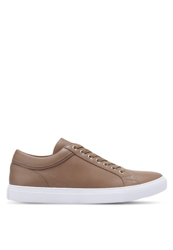 ZALORA brown Faux Leather Sneakers with Trim Detail A1905SH65E4194GS_1