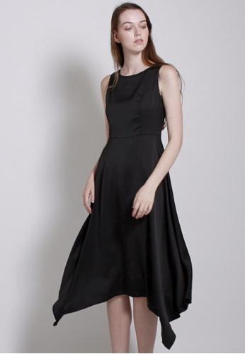 QLOTHE black Reminiscence : Asymmetric Hem Flare Dress C9FA4AA3E5C22EGS_1