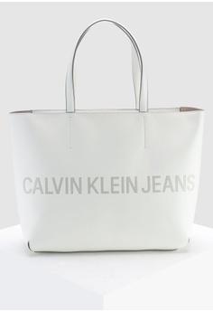 5e0ed649e1 Calvin Klein white Zipper Tote 2 With Logo - Calvin Klein Accessories  FF54FAC588B04AGS 1