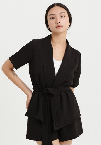 Cloth Inc black Belted Short Sleeve Outer in Black F3F19AA107E226GS_1
