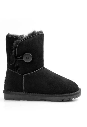 Twenty Eight Shoes 黑色 真皮圓鈕雪地靴UUD03 97BADSH19F2627GS_1