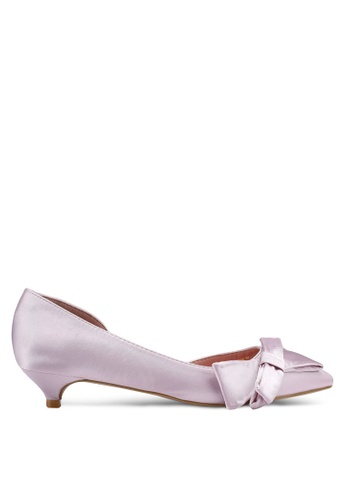 Nose purple Bow Half D'Orsay Low Heel Pumps 1EC56SH5A5D1CCGS_1