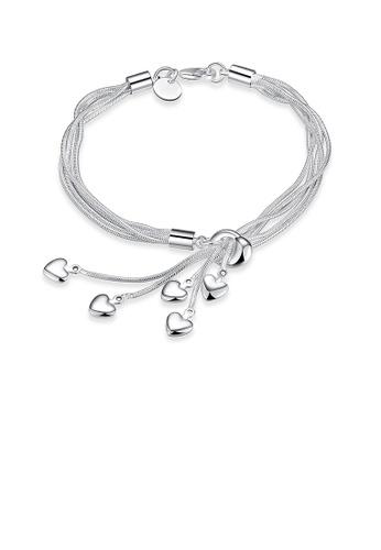 Glamorousky silver Simple Multi-layer Heart Bracelet 01802ACF2CE2BAGS_1