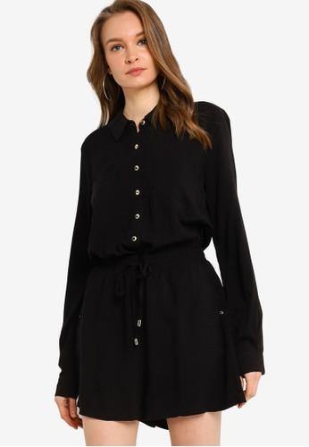 GUESS black Long Sleeve Charlie Romper 8BAF4AA54A32E0GS_1