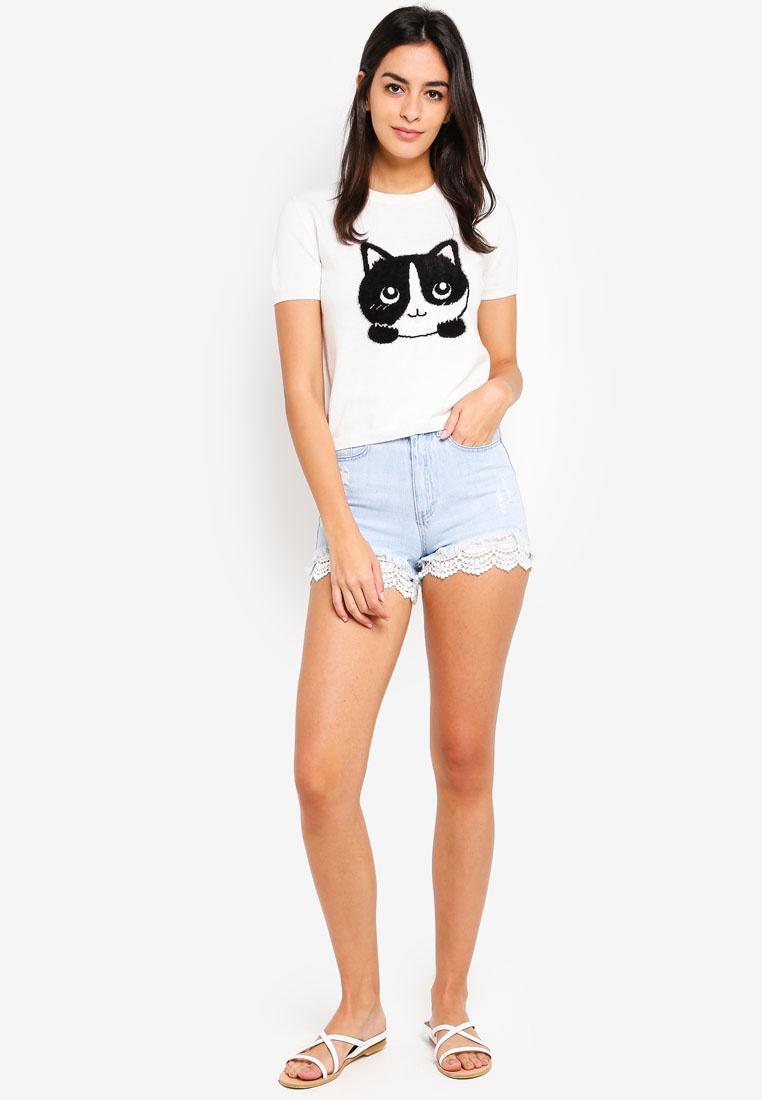 Beige Kitten T Shirt Knitted 6IXTY8IGHT wI6fFPWppq
