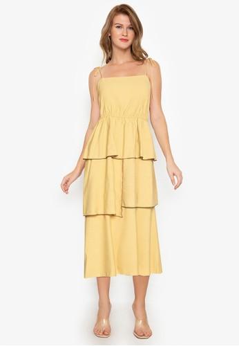 ZALORA BASICS yellow Contrast Trim Tiered Midi Dress D75D7AA24EC909GS_1