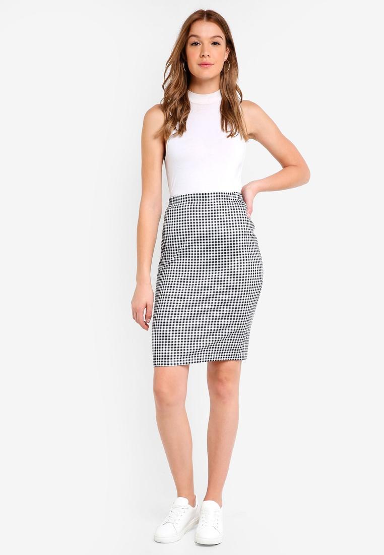 Basic Black Skirt Black Stripe White BASICS 2 pack Gingham Bodycon ZALORA gwxtpqpS