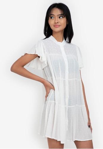 ZALORA BASICS white Eyelet Shirt Dress 5F136AAC1FFBEAGS_1