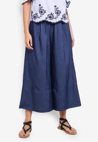 ZALORA blue Wide Leg Pants 163D9AA206361EGS_1