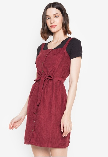 Pois red Pinafore Dress with Short Sleeves Tee 726E0AA6872FDEGS_1
