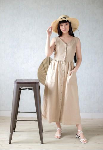 Simplify pink and beige Leia Dress Khaki 9EDCCAAAD22397GS_1