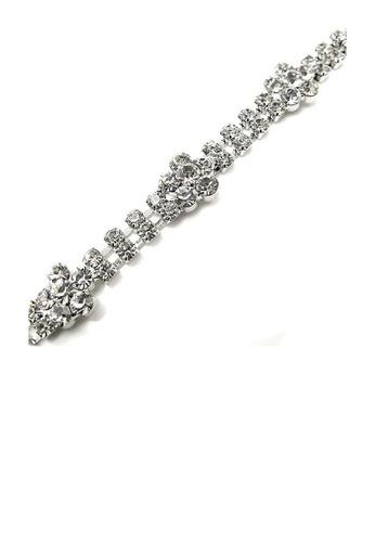 Glamorousky silver Elegant Flower Bracelet with Silver Austrian Element Crystal 1D50DAC623479DGS_1