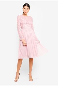 cedfa160d1d3 Little Mistress pink Pink Embroidered Midi Dress 2985FAA9C65D2FGS 1