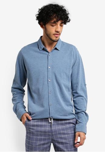 ZALORA blue Distressed Denim Jersey Long Sleeve Shirt A557FAA60C3206GS_1