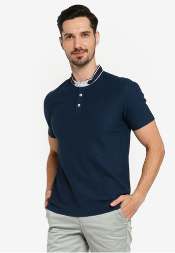G2000 navy Floral Stand Collar Polo Shirt FF044AA508BFB8GS_1