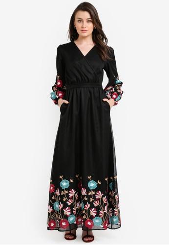 Zalia black Embroidered Mesh Wrap Dress D59F1AA0A1F111GS_1