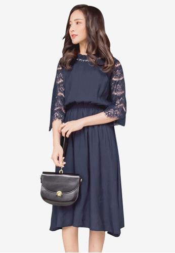 YOCO navy Lace Sleeved Blouson Dress 3FD21AAFC291AEGS_1