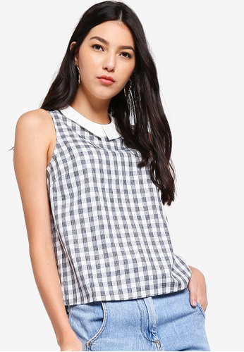 ZALORA black Sleeveless Top with Contrast Collar 5A163AAB4E1622GS_1