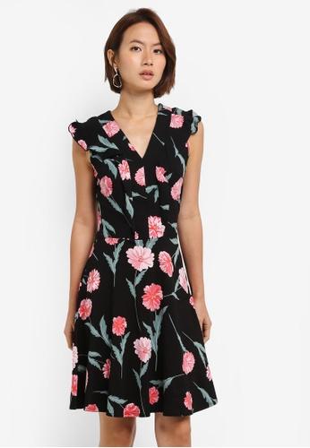 Dorothy Perkins black Black Floral V Neck Dress 3A0F0AA9B2D248GS_1