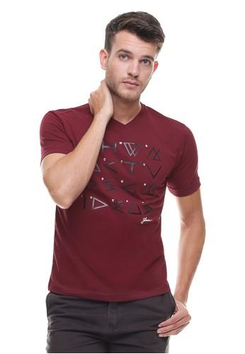 Johnwin red Johnwin - Slim Fit - Kaos Casual Active - Vneck - Sablon - Merah JO804AA0VG2NID_1