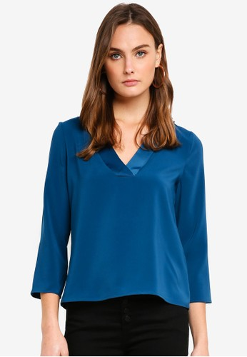 Vero Moda blue Fanni 3/4 V-neck E51BFAA272D48EGS_1
