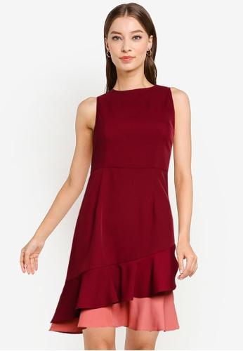 ZALORA WORK red and multi Layered Ruffles Dress 2A749AABB7F6C2GS_1