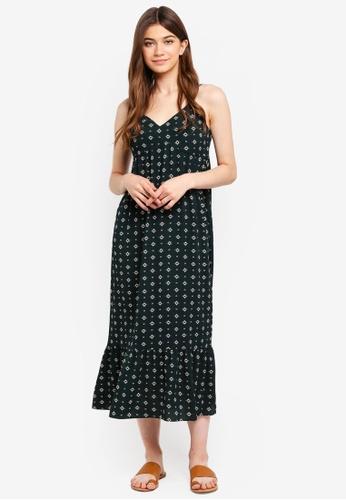 Something Borrowed green Ruffles Hem Midi Dress 0C692AAE856048GS_1
