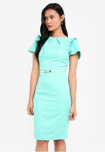 Paper Dolls green Aqua Detail Flute Sleeve Dress With Belt 15779AAF82E8F4GS_1