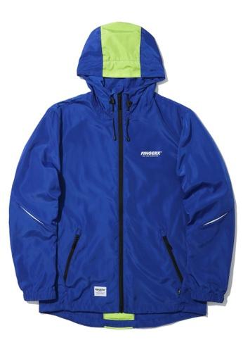 Fingercroxx blue Slit sleeve zip jacket 872F2AA5709D46GS_1