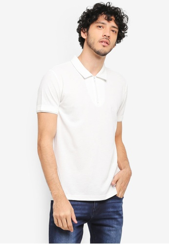 ZALORA white Zip Polo With Contrast Collar BD12AAA46A02A1GS_1