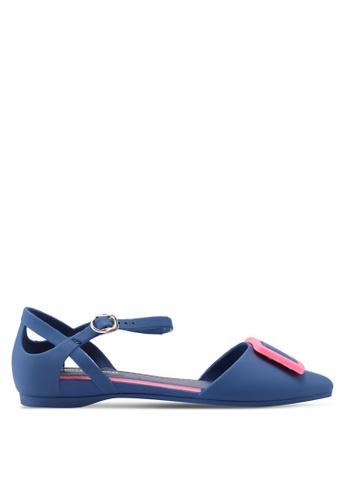 Twenty Eight Shoes 藍色 金屬飾繞踝平底鞋 AA856SH8D71DD4GS_1