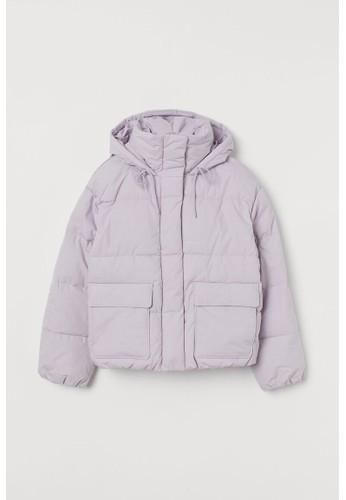 H&M purple Hooded puffer jacket 4E12CAA79485BFGS_1