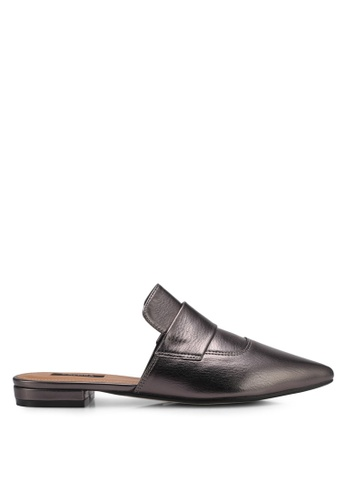 ZALORA grey Metallic Slip-On Loafers 422C8SHF80E7CAGS_1