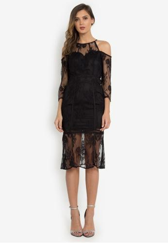 NOBASIC black Cold Shoulder Laced Dress DFE0EAA59B8FF9GS_1