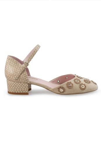 Shu Talk beige Polka Dots Ankle Straps Floral Sandals Heels SH397SH0GFIQSG_1