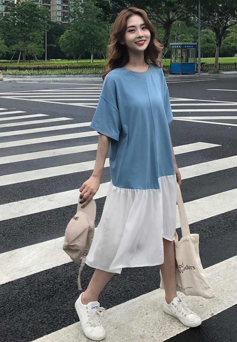 One Piece New 2018 CA062903BL Sunnydaysweety Dress Cutting Blue Loose qxUwHt