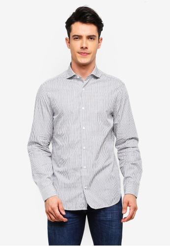 MANGO Man 灰色 修身條紋襯衫 EDFD9AA504B4BBGS_1