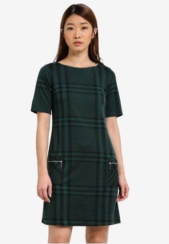 Dorothy Perkins green Checkered Shift Dress DO816AA0S4RZMY_1
